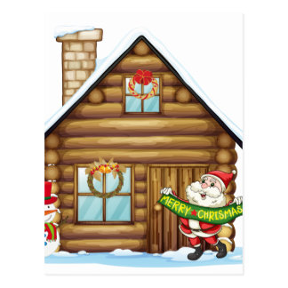house and santa claus postcard