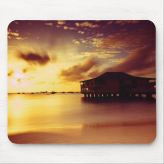 House and Shore At Sunset Mouse Pad