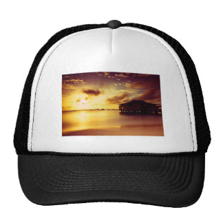 House and Shore At Sunset Trucker Hat