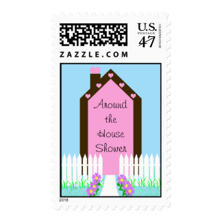 House Around the House Shower Postage Stamp