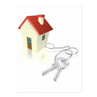 House attached to keys as keyring postcards