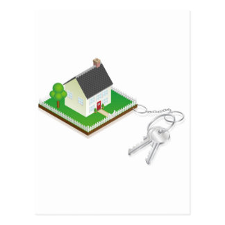 House attached to keys as keyring postcard