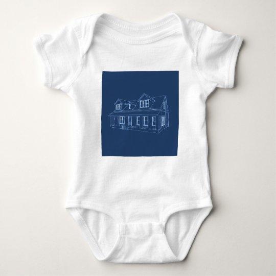House: Blue Print Drawing: Baby Bodysuit