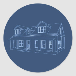 House: Blue Print Drawing: Classic Round Sticker