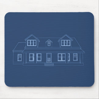 House: Blue Print Drawing: Mouse Pad