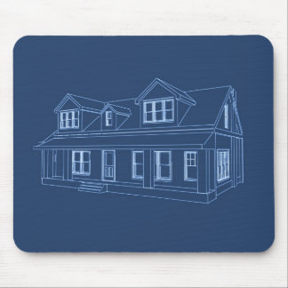 House: Blue Print Drawing: Mousepads