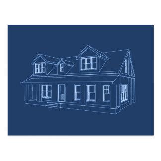 House: Blue Print Drawing: Postcard