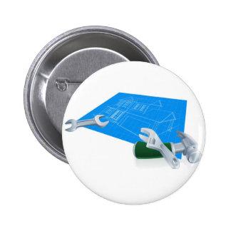 House blueprint construction concept buttons