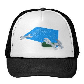House blueprint construction concept hats