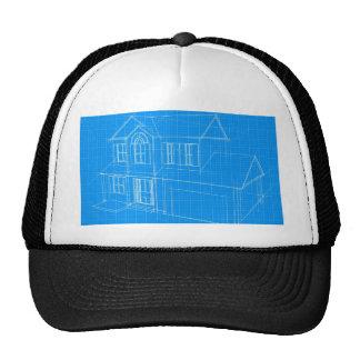 House blueprint mesh hat