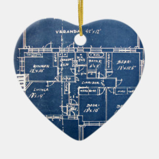 House Blueprints Ceramic Ornament