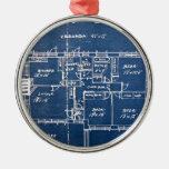 House Blueprints Metal Ornament
