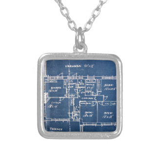 House Blueprints Silver Plated Necklace