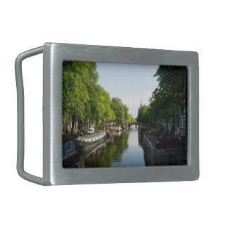 House Boats on Amsterdam Canal Belt Buckle