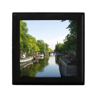 House Boats on Amsterdam Canal Keepsake Boxes