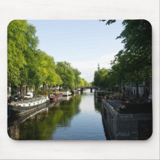 House Boats on Amsterdam Canal Mouse Pad