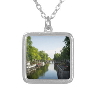 House Boats on Amsterdam Canal Square Pendant Necklace