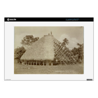 "House Building in Samoa, c.1875 (sepia photo) Decal For 15"" Laptop"