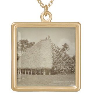 House Building in Samoa, c.1875 (sepia photo) Gold Plated Necklace