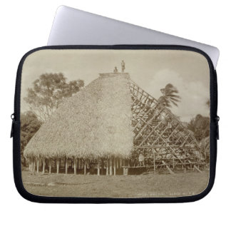 House Building in Samoa, c.1875 (sepia photo) Laptop Sleeve