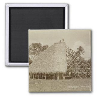 House Building in Samoa, c.1875 (sepia photo) Magnet