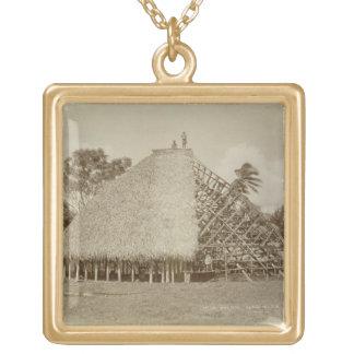 House Building in Samoa, c.1875 (sepia photo) Custom Jewelry