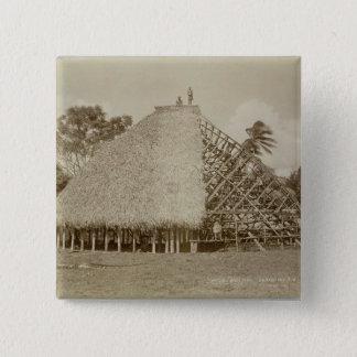 House Building in Samoa, c.1875 (sepia photo) Pinback Button