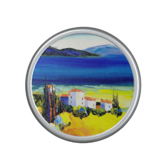 house by the sea colorful oil painting travel fun bluetooth speaker