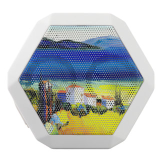 house by the sea colorful oil painting travel fun white bluetooth speaker