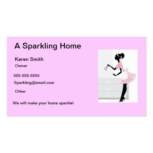 House Cleaning Business Card Pink Maid Lady Zazzle