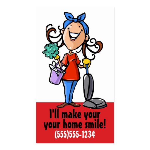House Cleaning. Cleaner Promotional business card