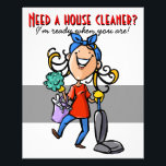 """House Cleaning, Custom business promotional. Flyer<br><div class=""""desc"""">This is a colorful and charming marketing flyer that expresses that you are cheerful, energetic and eager to begin your housecleaning business immediately. The flyer is fully customizable and ready to be personalized as you choose. It features a hand drawn woman with long blonde hair with a large happy smile....</div>"""