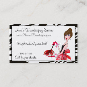 house cleaning diva dark hair business cards