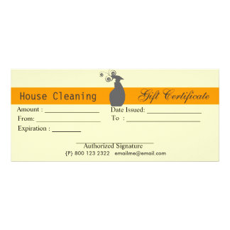 House Cleaning Housekeeping Gift Certificate Rack Card