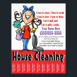 """House Cleaning Marketing flyer<br><div class=""""desc"""">This is a colorful and charming marketing flyer that expresses that you are cheerful, energetic and eager to begin your housecleaning business immediately. The flyer is fully customizable and ready to be personalized as you choose. It features a hand drawn woman with a large happy smile. She is wearing a...</div>"""