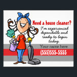 """House Cleaning promo 4x5 card<br><div class=""""desc"""">This is a colorful and charming marketing flyer that expresses that you are cheerful, energetic and eager to begin your housecleaning business immediately. The flyer is fully customizable and ready to be personalized as you choose. It features a hand drawn woman with a large happy smile. She is wearing a...</div>"""
