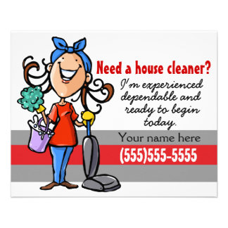 """House Cleaning promo 4x5 card 4.5"""" X 5.6"""" Flyer"""
