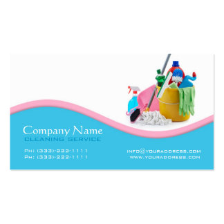 House Cleaning Service Light Blue & Pink Wave Card Business Card