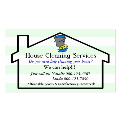 House cleaning services business card template zazzle for Cleaning business cards templates free