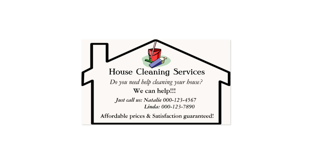 House Cleaning Services Business Card Template | Zazzle