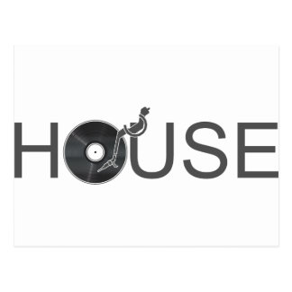 House DJ Turntable - Music Disc Jockey Vinyl Postcard