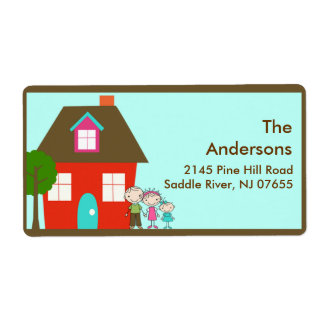 House & Family Return Address Label