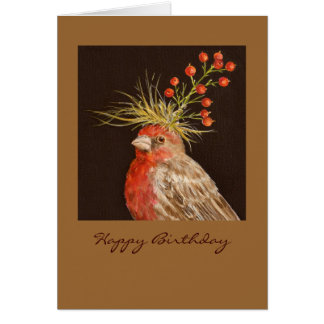 house finch, Happy Birthday Card