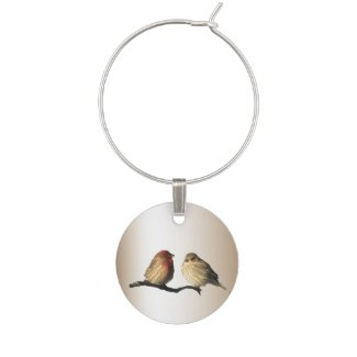 House Finches Wine Charm