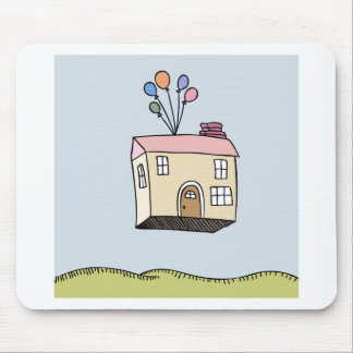 House Floating Away Cartoon Mouse Pad