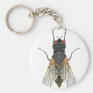 house fly . basic round button keychain