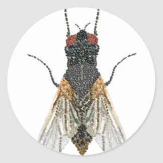 House Fly Bedazzled Classic Round Sticker