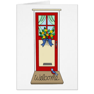 House Front Door Welcome Mat Greeting Card