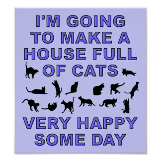 House Full Of Cats Funny Cat Lady Poster Sign