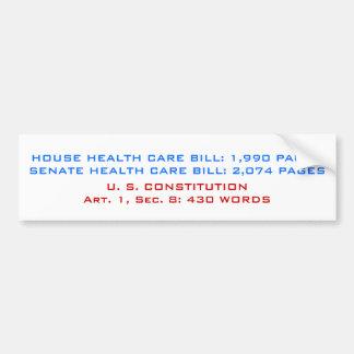 HOUSE HEALTH CARE BILL: 1,990 PAGESSENATE HEALT... BUMPER STICKER